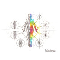 Original Intuitive Geometry Human Anatomy Art – Body