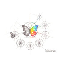 Original Intuitive Geometry Butterfly Art