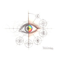 Original Intuitive Geometry Human Anatomy Art – Eye