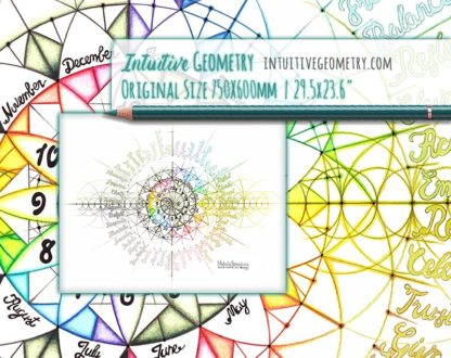 Nathalie Strassburg Intuitive Geometry Annual Calendar 12 Hour Clock 12 Months 48 Emotion Themes Art life size 2
